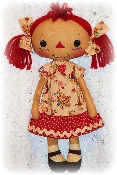 Cloth Doll Pattern, Rag Doll Pattern, Raggedy Ann Pattern, Soft Doll ...
