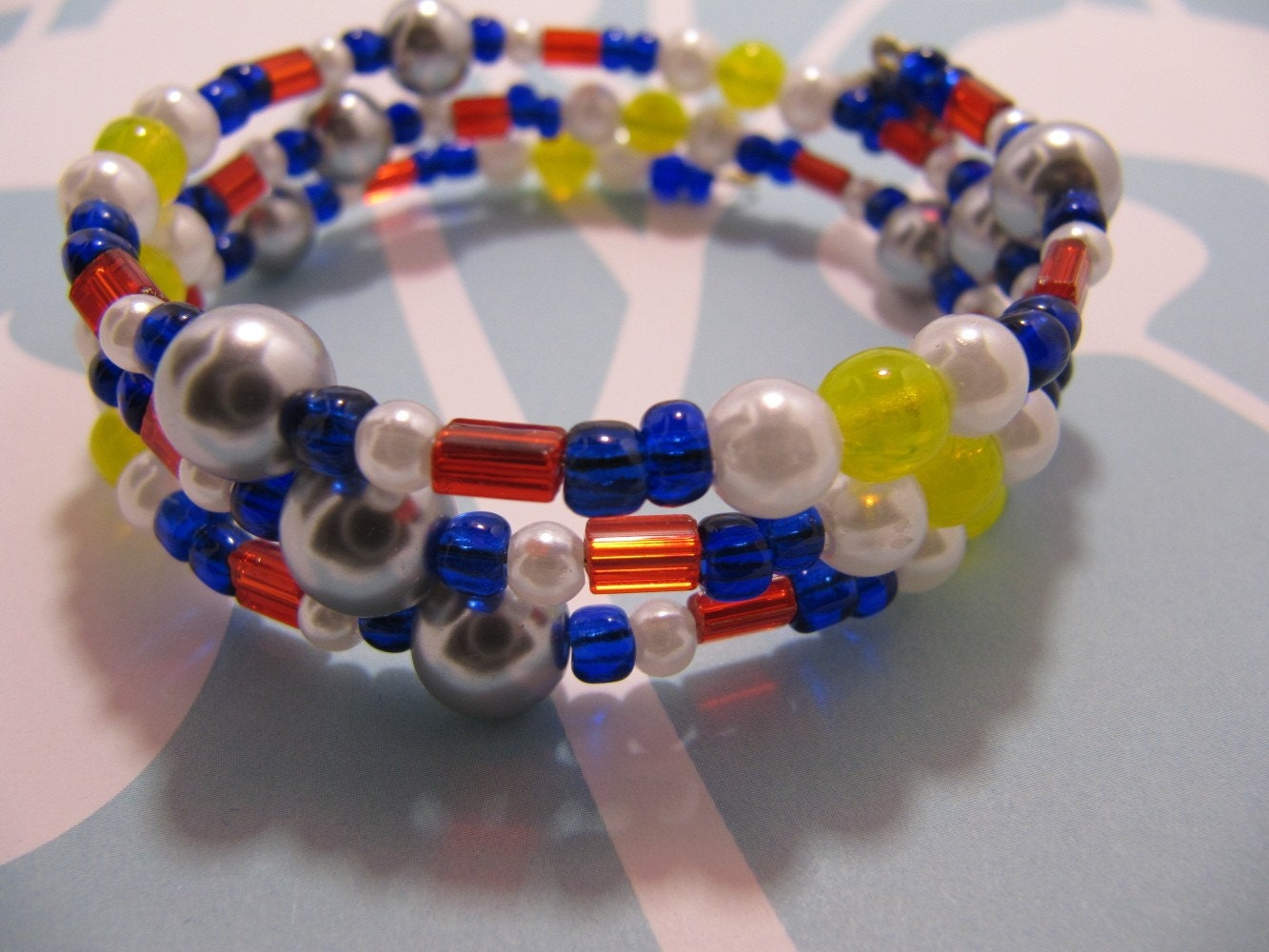 Grey, Red, Yellow and Navy Handmade Beaded Memory Wire Bracelet