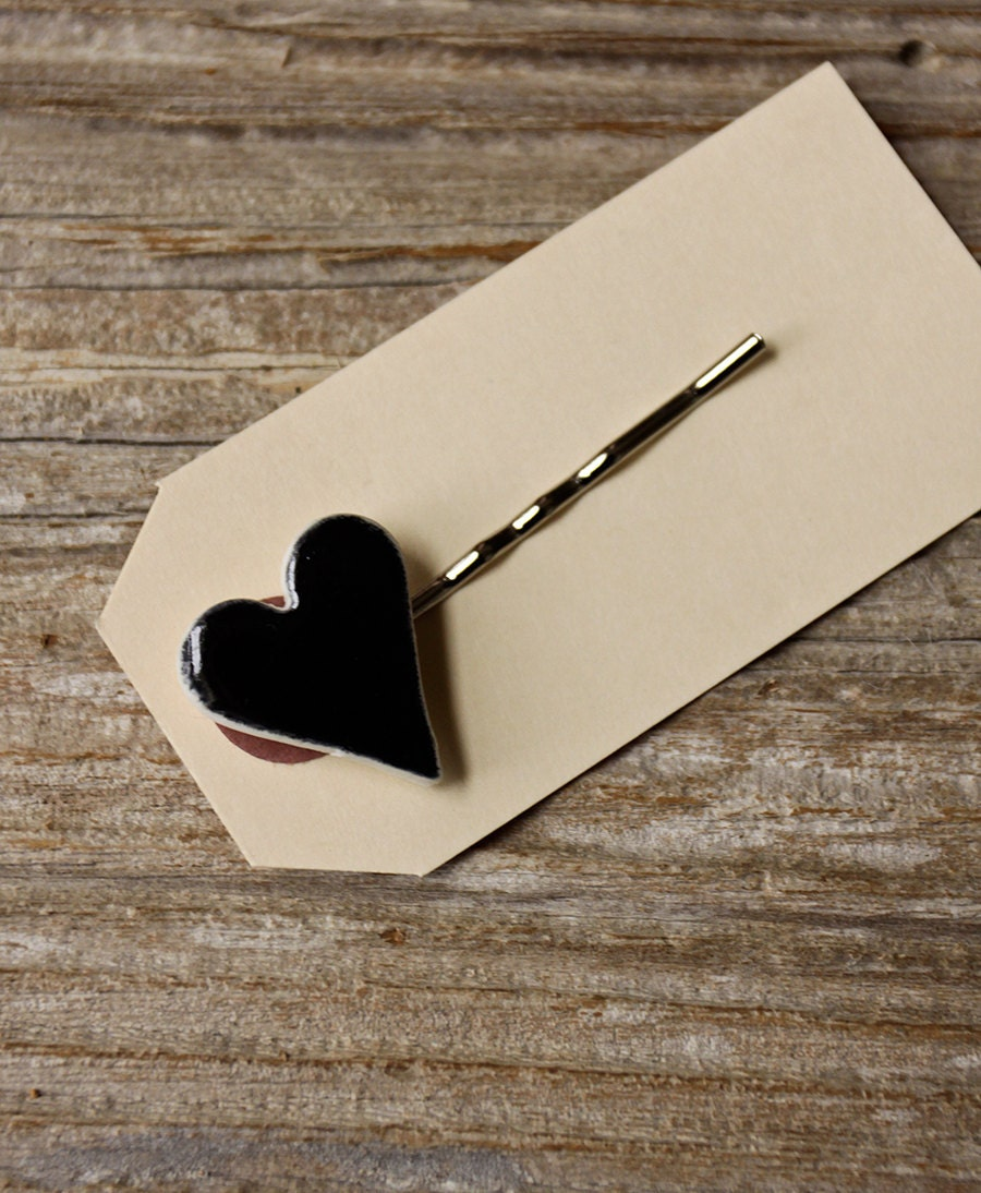Black Porcelain Heart Bobby Pin - ON SALE