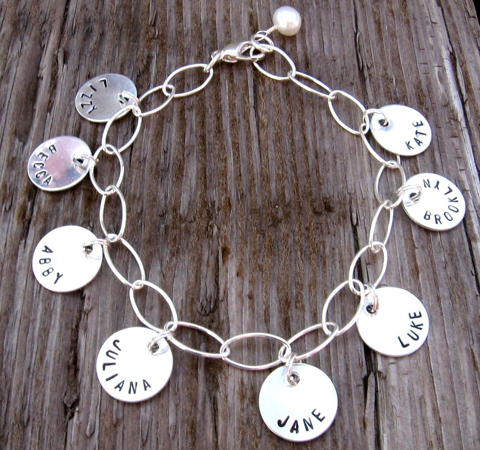 Charm Style Petite Tags Bracelet, hand stamped sterling silver name bracelet, mommy bracelet, custom