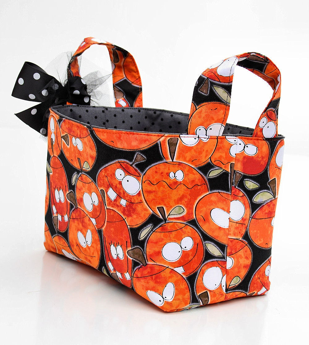 Trick or Treat basket candy bucket orange silly pumpkins