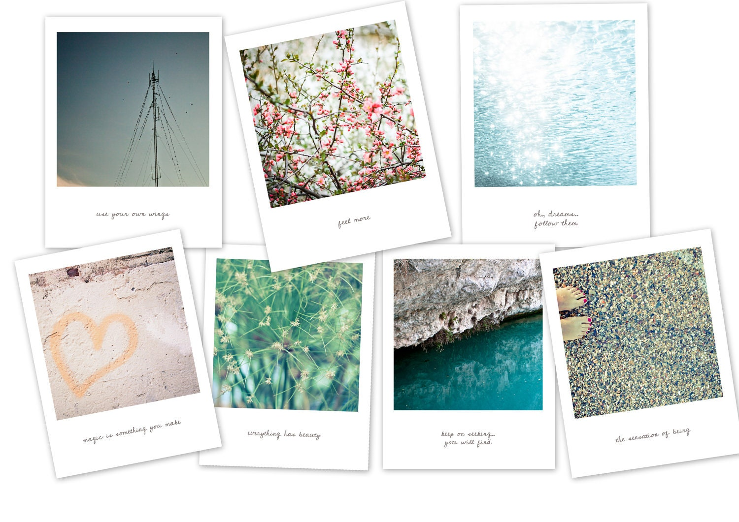 Set Of  7  Positive PostCards