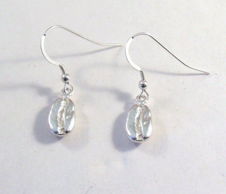 Extremely Adorable Sterling Silver Coffee Bean Charm Earrings - 1165 - GoldChestJewelry