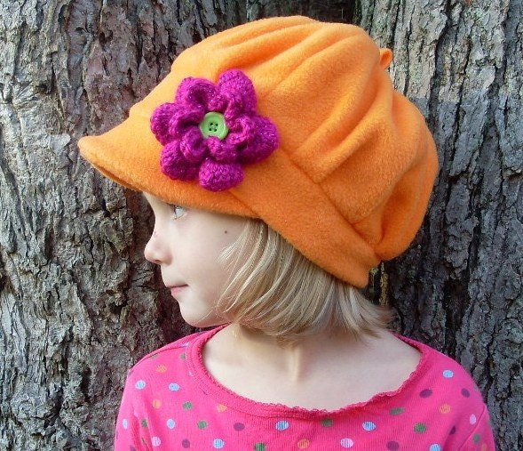 Funky orange fleece  hat with crocheted flower  - READY TO SHIP - EmmasLittleCreations