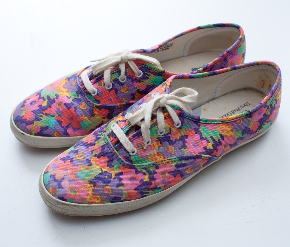 1990s floral keds floral canvas lace up sneakers by