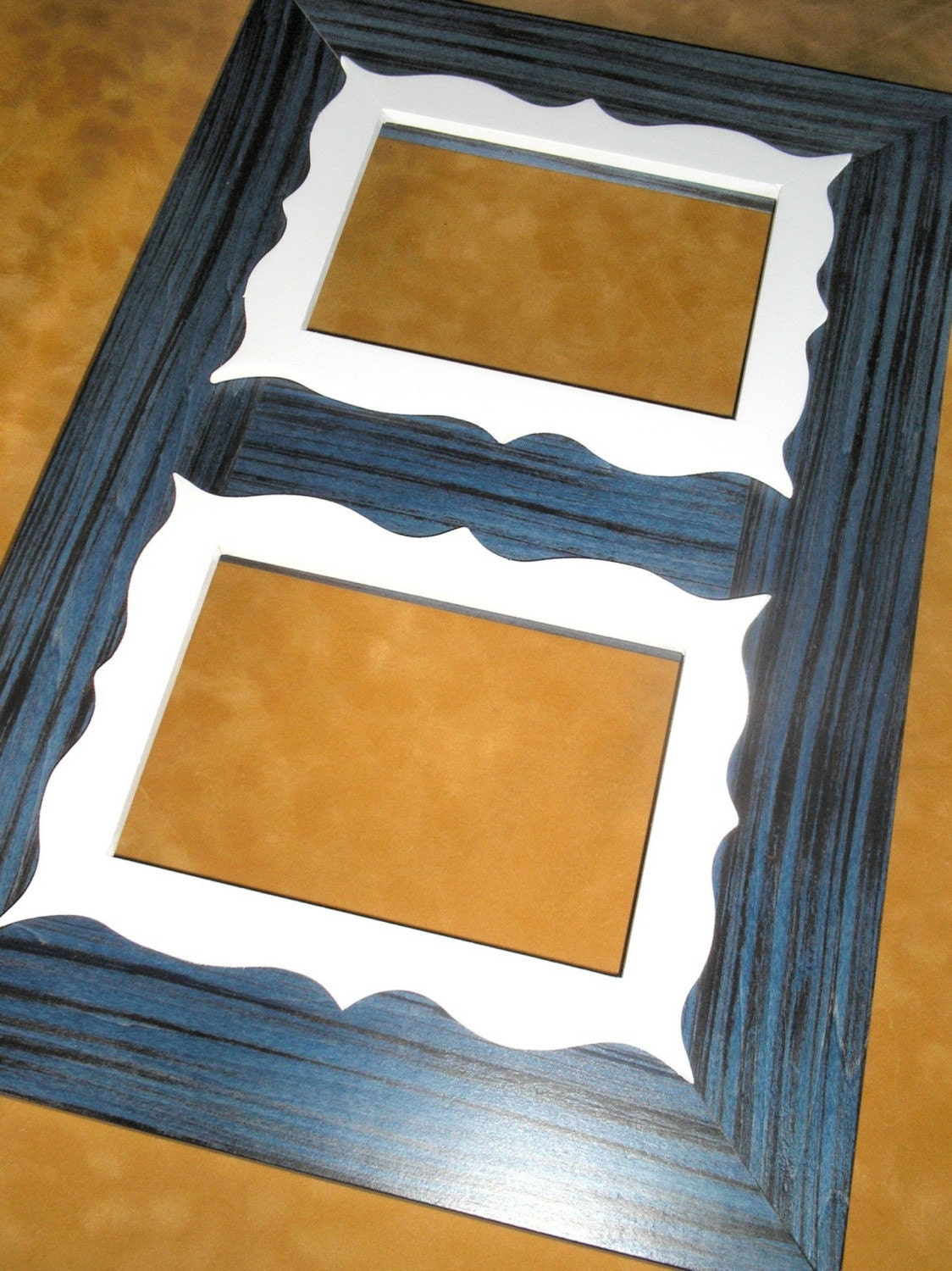 Double opening 5x7 Memory Keeper Sonoita Blue white trim photo picture frame