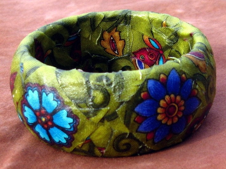 Upcycled Lime Green Floral Fabric Bangle