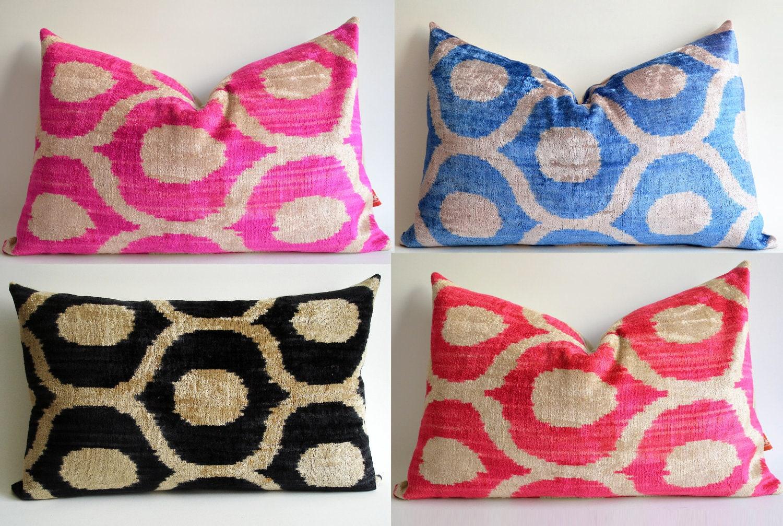 Sukan / SALE, Decorative Pillow,Throw Pillow Cover, Hand Woven Silk Velvet Blue-beige Ikat Pillow Cover