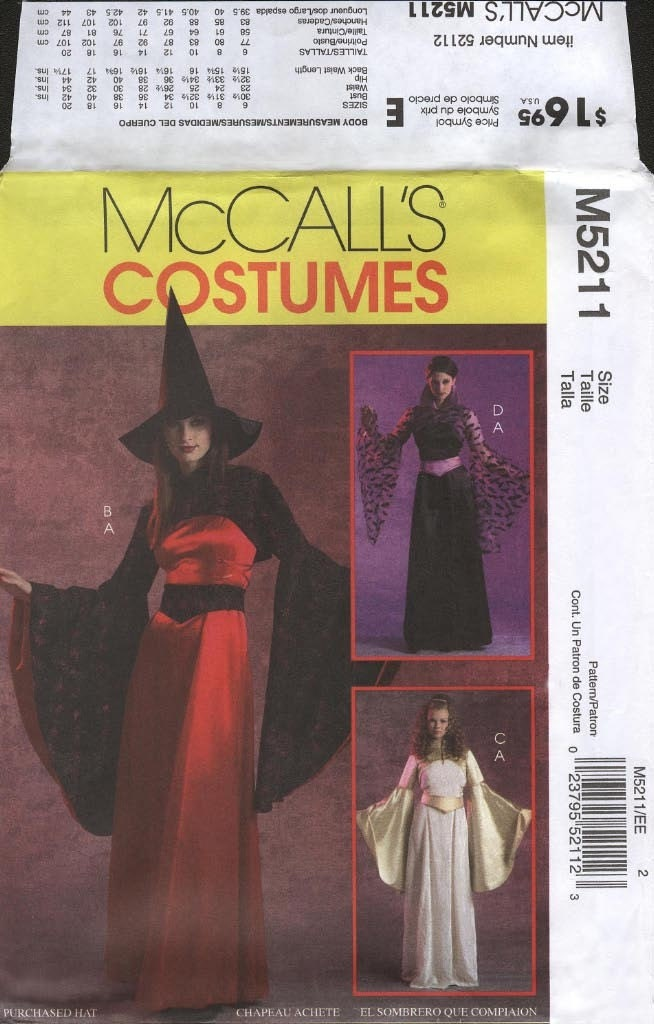 Fantasy Costume McCall's M5211 Adult Size EE 14-20 (Deguisements de ...