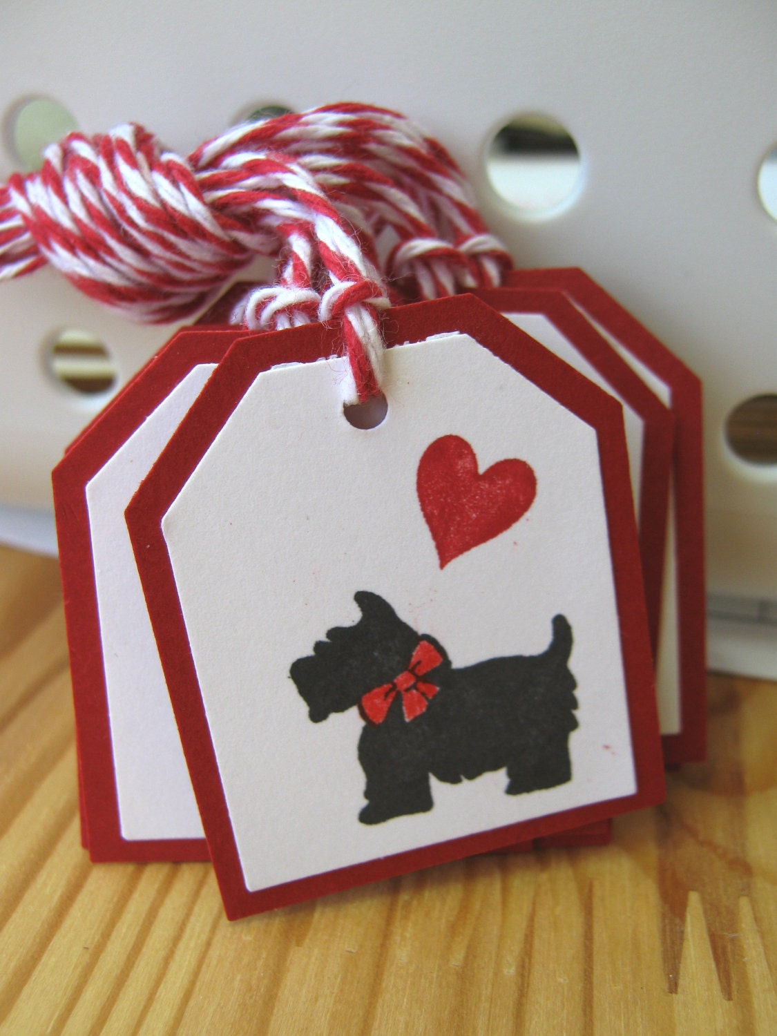 Black Scottie Dog Valentine Gift Tags