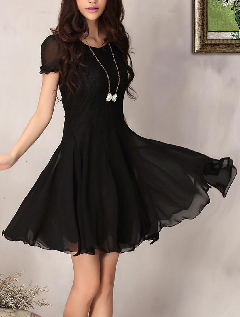 Black Lace Chiffon Dress / Little Black Dress / Black Fit and Flare Dress - DressStory