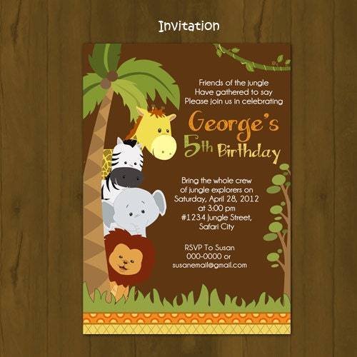 Safari Birthday invitation Jungle Birthday by SplashboxPrintables
