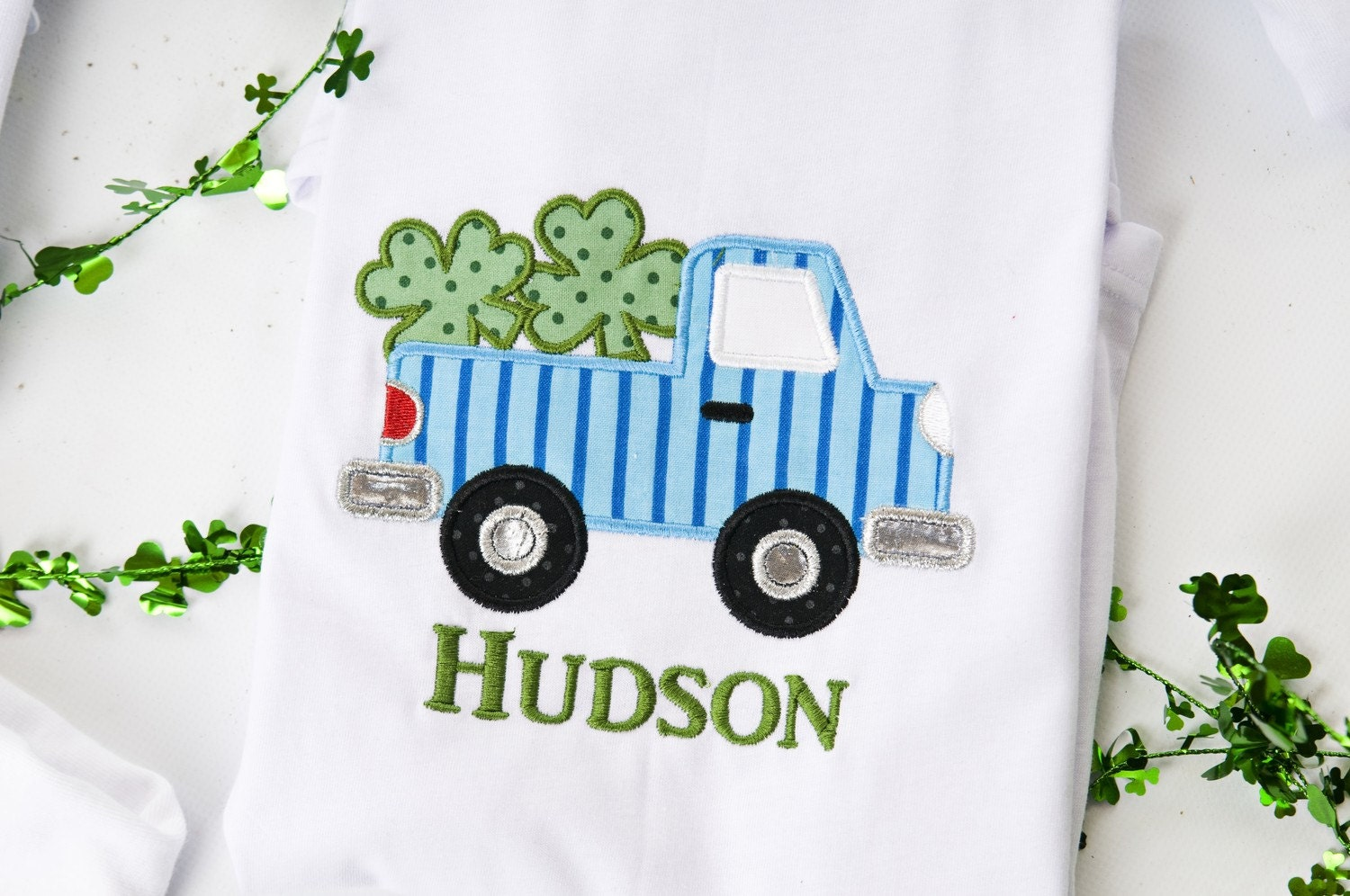 Monogrammed Personalized Custom Boutique Shamrock Truck Applique T Shirt St Patricks Day