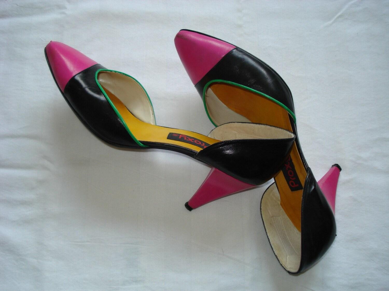 1980s colorblock heels