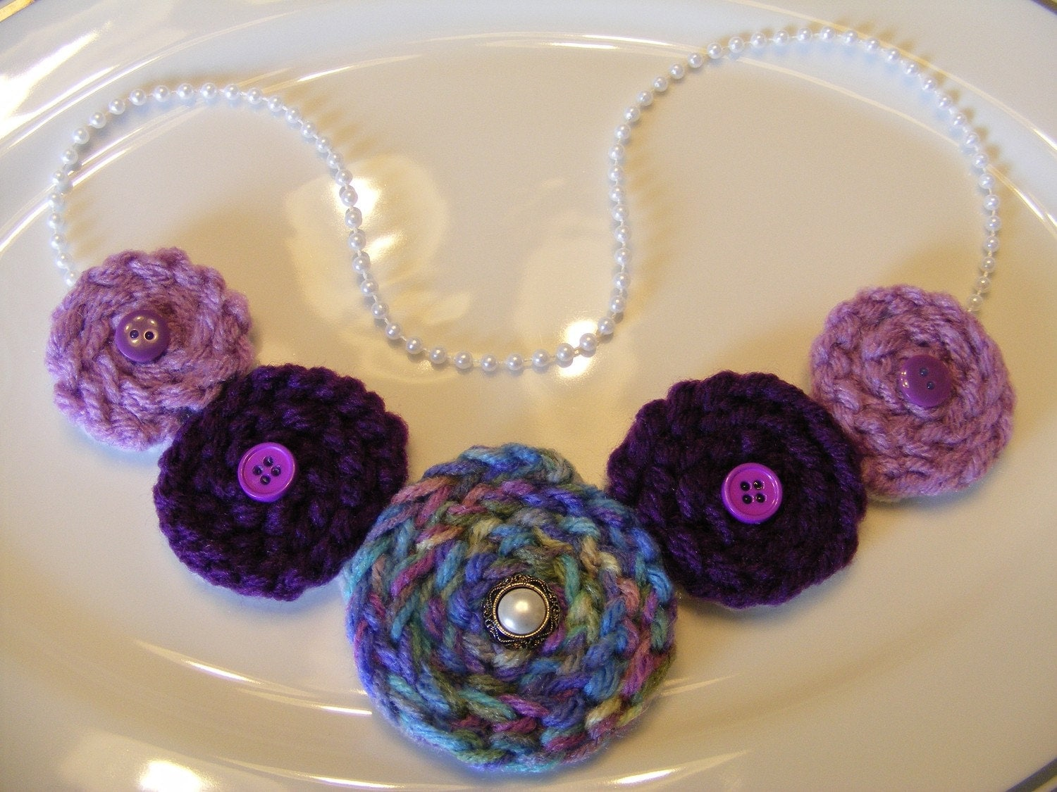 Crocheted Rosette Purple & Pearl Necklace
