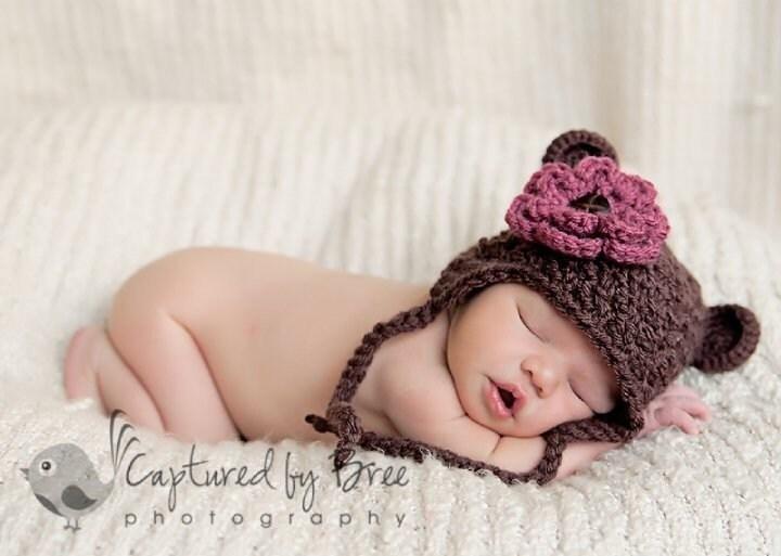 Шоколад бурый медведь Уши вязания крючком уха заслонки шапочка с зажимом Цветок - нестандартный размер и цвет