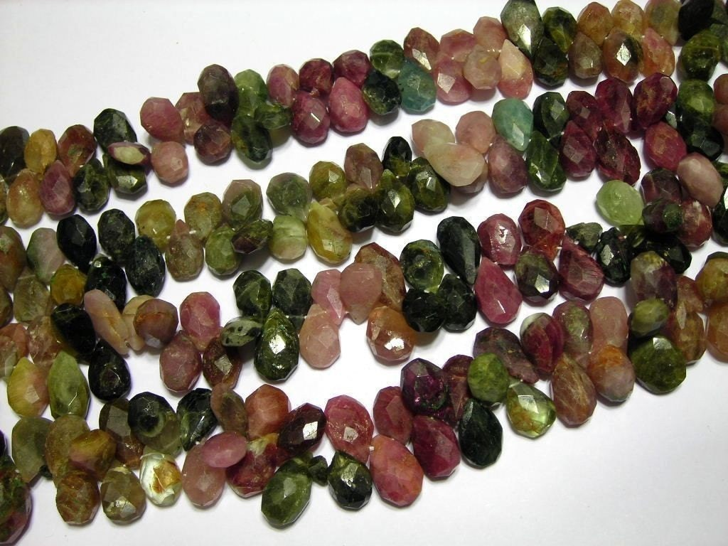 Watermelon Tourmaline Faceted flat drops 190carat weight full 8inch strand WOW smokin deal