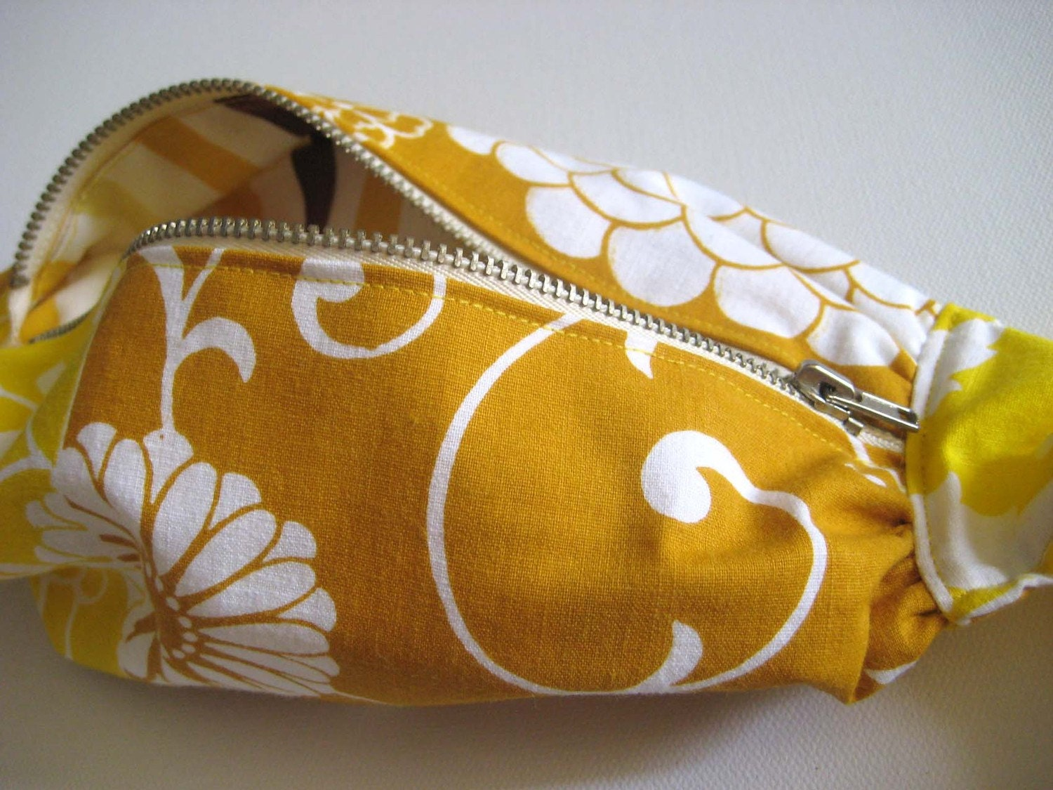 SewNewThings Expandabag -Cross - body handbag with zipper - upcycled vintage fabric in Gold and Caramel