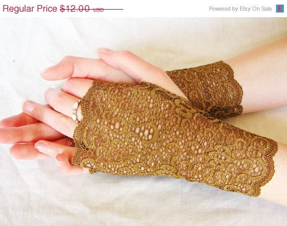 Lace Fingerless Gloves: Caramel, Copper, Brown,  Lace, Wedding, Victorian, Alice, Steampunk, Bridesmaids, Prom - seamstressbythesea