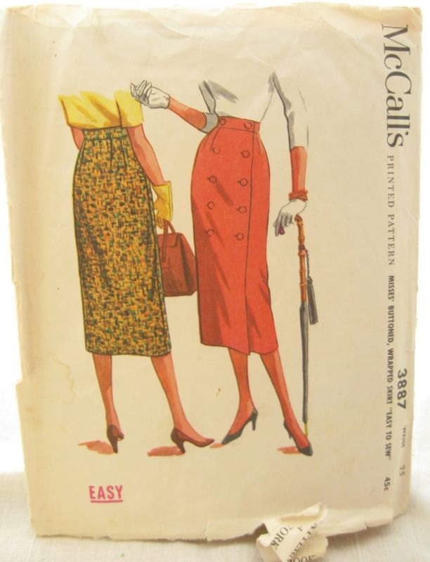1950s mccalls 3887 easy sew wrap pencil skirt by emsewcrazy