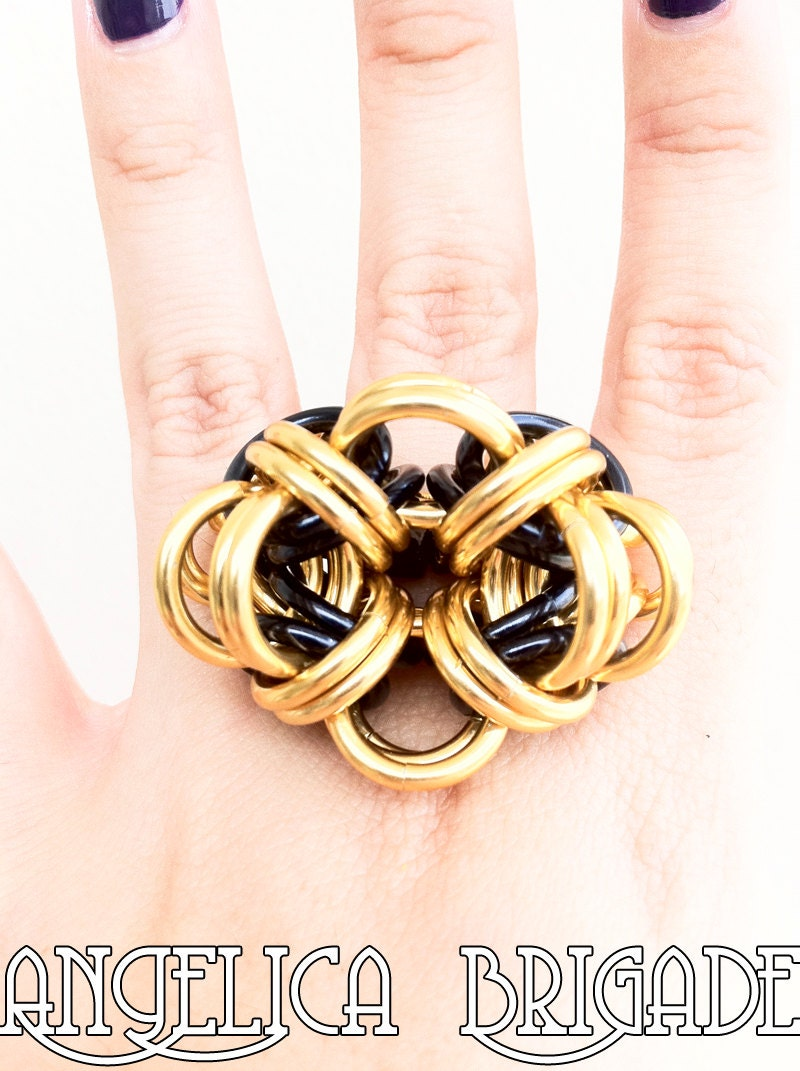 Lightweight & Sculptural Cocktail Ring in Black and Gold - Unusual Fashion Jewelry by Angelica Brigade AngelicaBrigade handmade chainmaille jewellery chain maille accessories