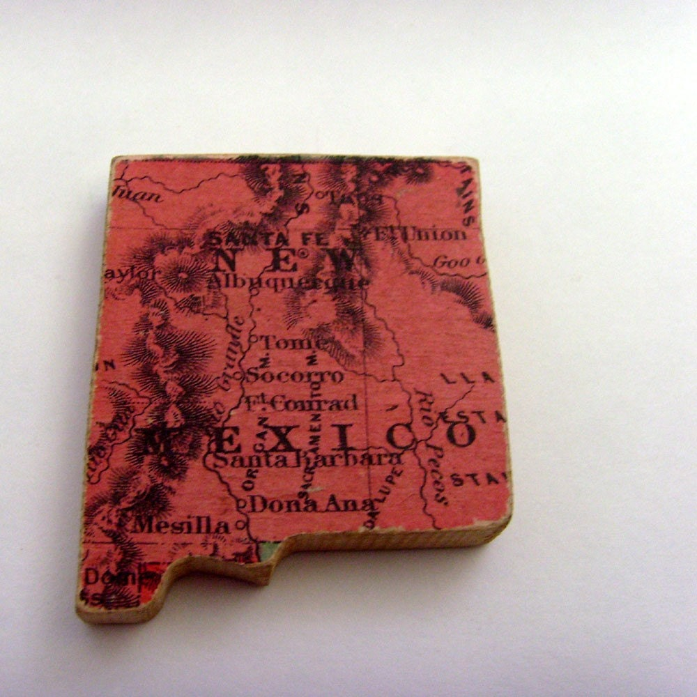 NEW MEXICO Wood Brooch / Pin from 1887 Antique Puzzle