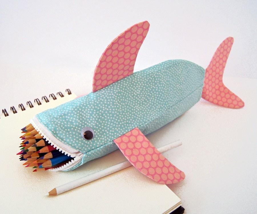 Caixa de lápis Shark - Fun Zipper Pouch - Idéia original do presente dos miúdos: Praia da mordida do tubarão Bubbles