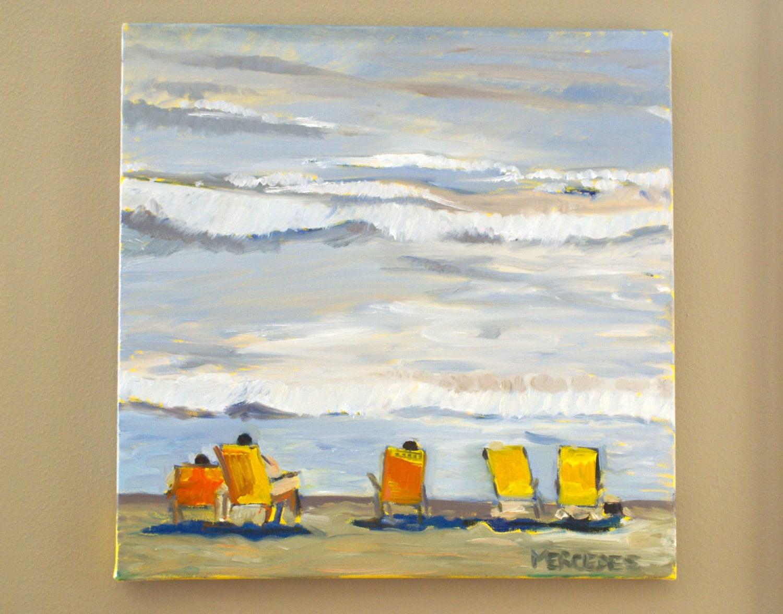 Sillas amarillas en la playa pintura original en por for Sillas amarillas