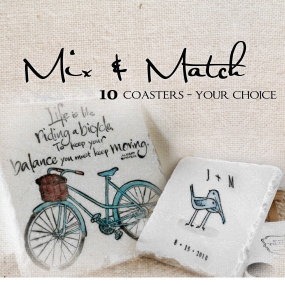 Mix and Match 10  Tile Coasters of Your Choice, Great Hostess Gifts