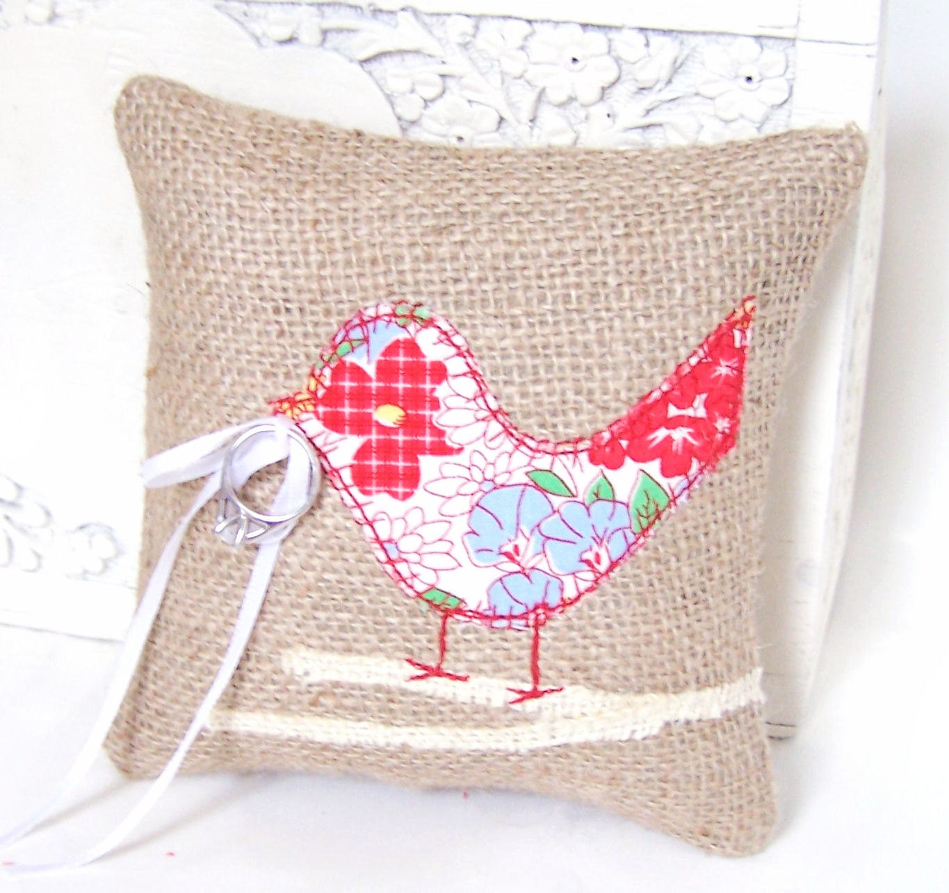 Items Similar To Love Bird Burlap Wedding Ring Bearer Pillow Red Blue White And Yellow Floral