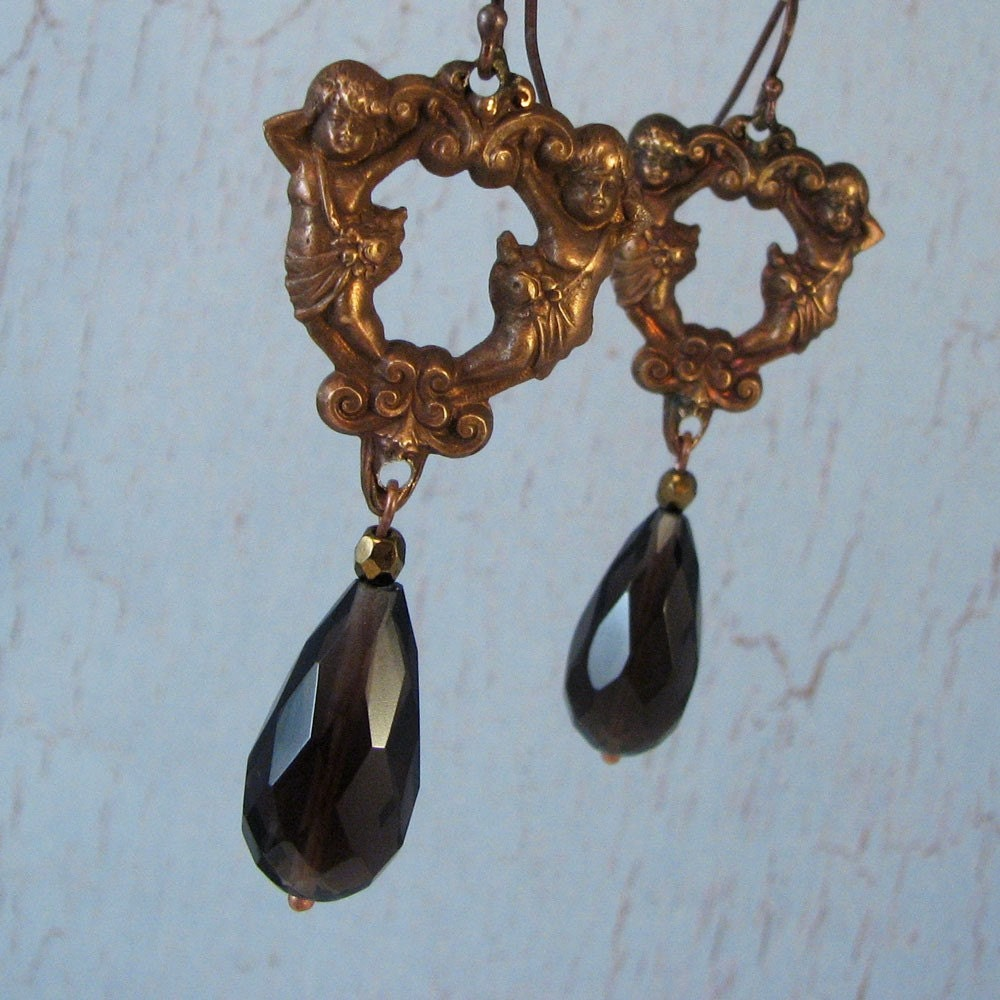 goddess earrings with smoky topaz drops
