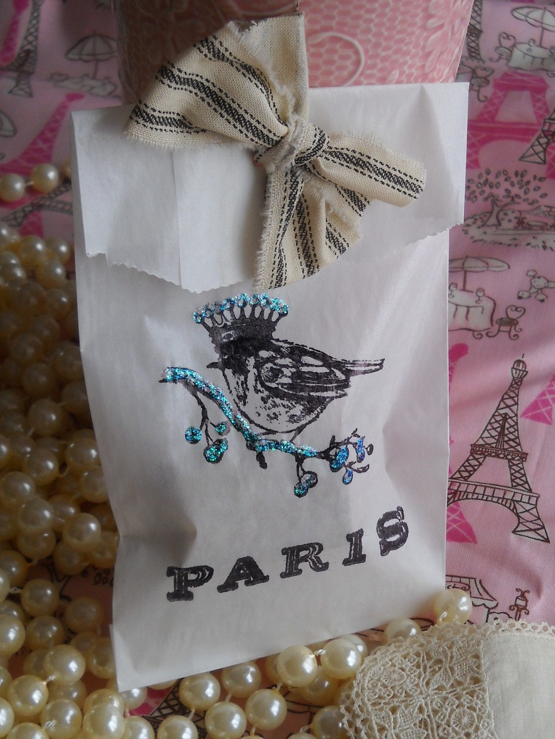 french inspired- Winter in Paris- glassine bags