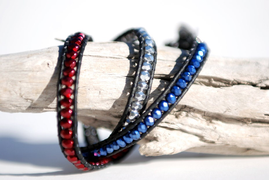 American flag bracelet. Triple wrap leather bracelet with red, silver and blue fire polished beads. Leather wrap bracelet. WFP3v001