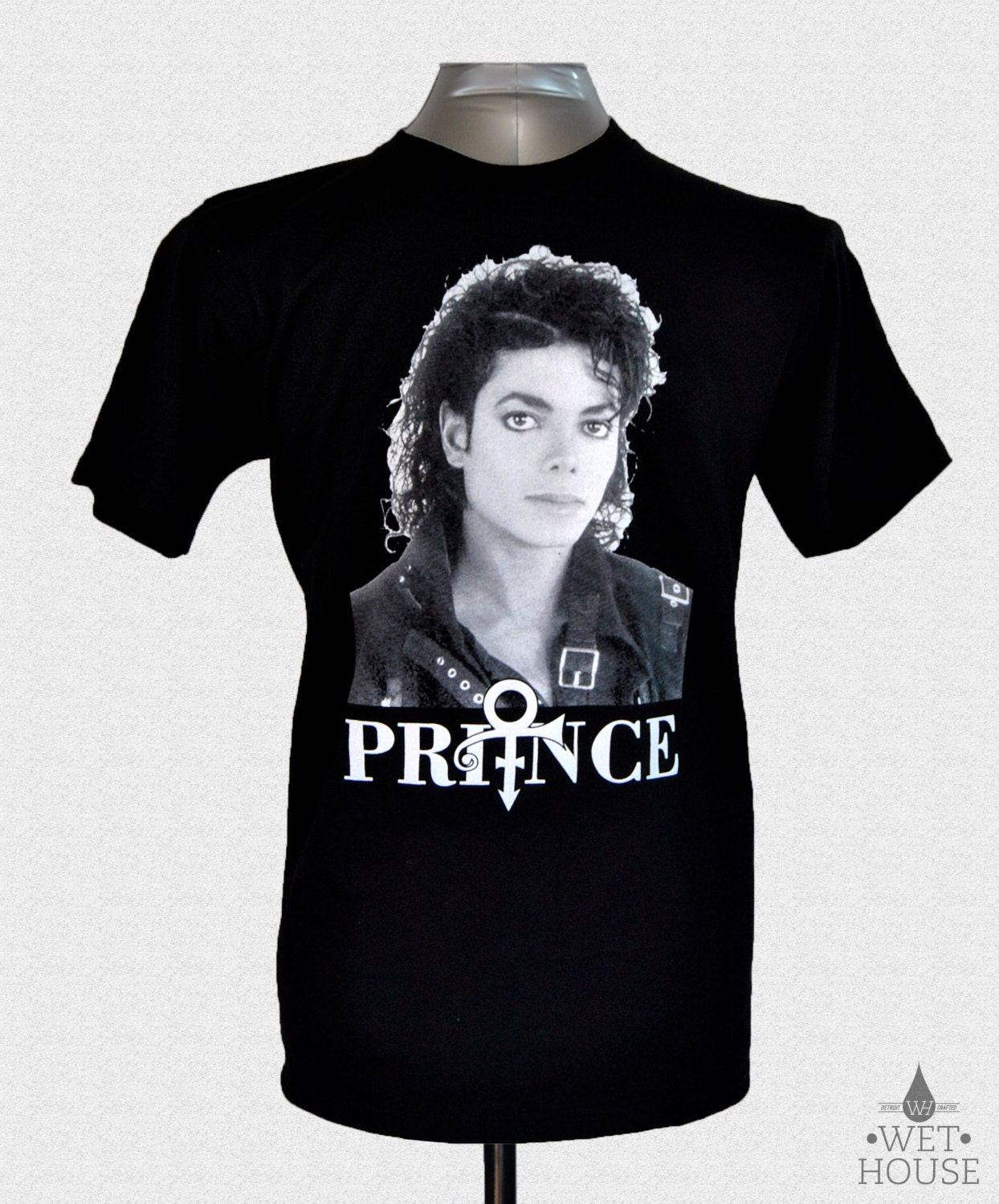 Michael Jackson Face Prince Symbol T-Shirt // black shirt white ink