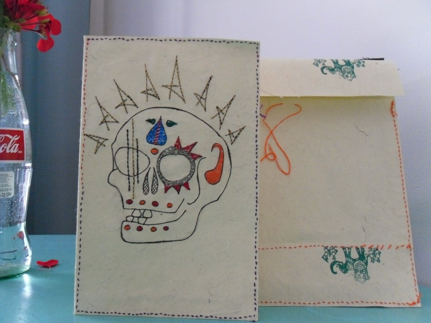"Embroidered Skull card ""King Adam"""