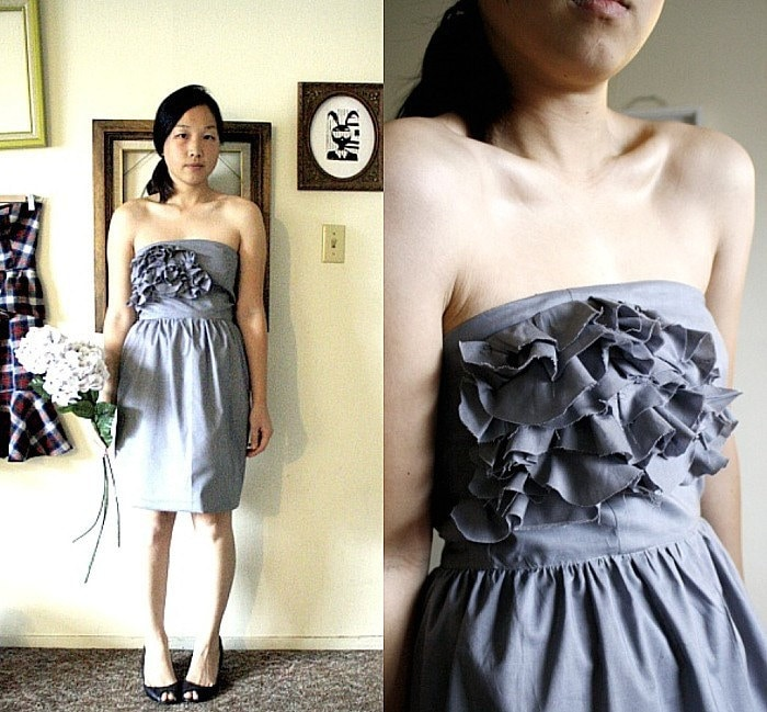 Autumn Blossom Couture Dress in Gray
