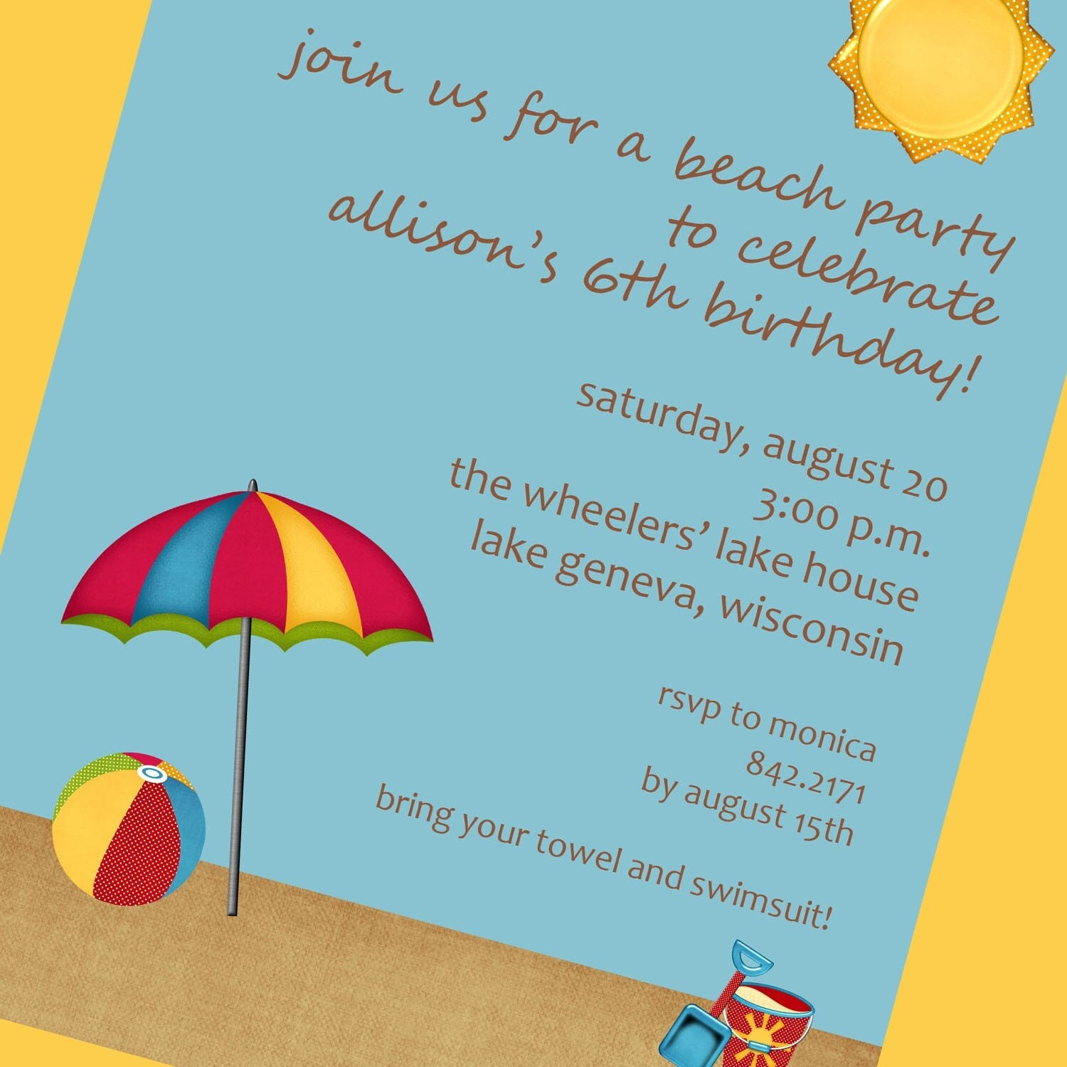 Beach Party Invitation Wording