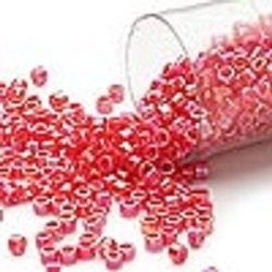 Miyuki Delica Seed Beads 11/0 Opaque Vermillion Red AB -  7.2 Grams DB159 - DesigningwithCindy