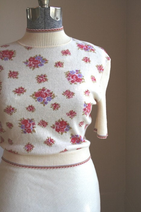 Vintage Cream Floral Sweater Dress Sz L