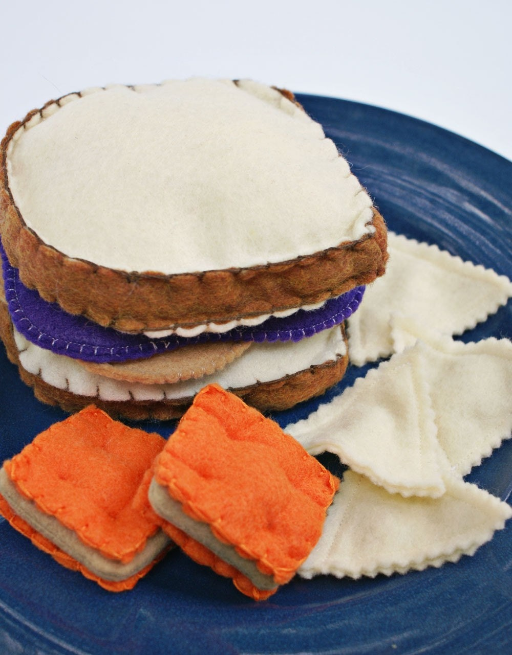 Felt Play Food Peanut Butter and Jelly Sandwich with Crackers and Tortilla Chips