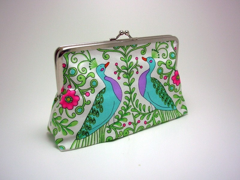Large  Clutch Purse - New Monaco Peacocks in White No. 2 with pink silk  lining
