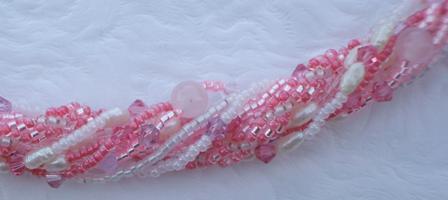 Betsy's Pink Silk Necklace with Swarovski Crystals, Pearls and a Spiral Rope