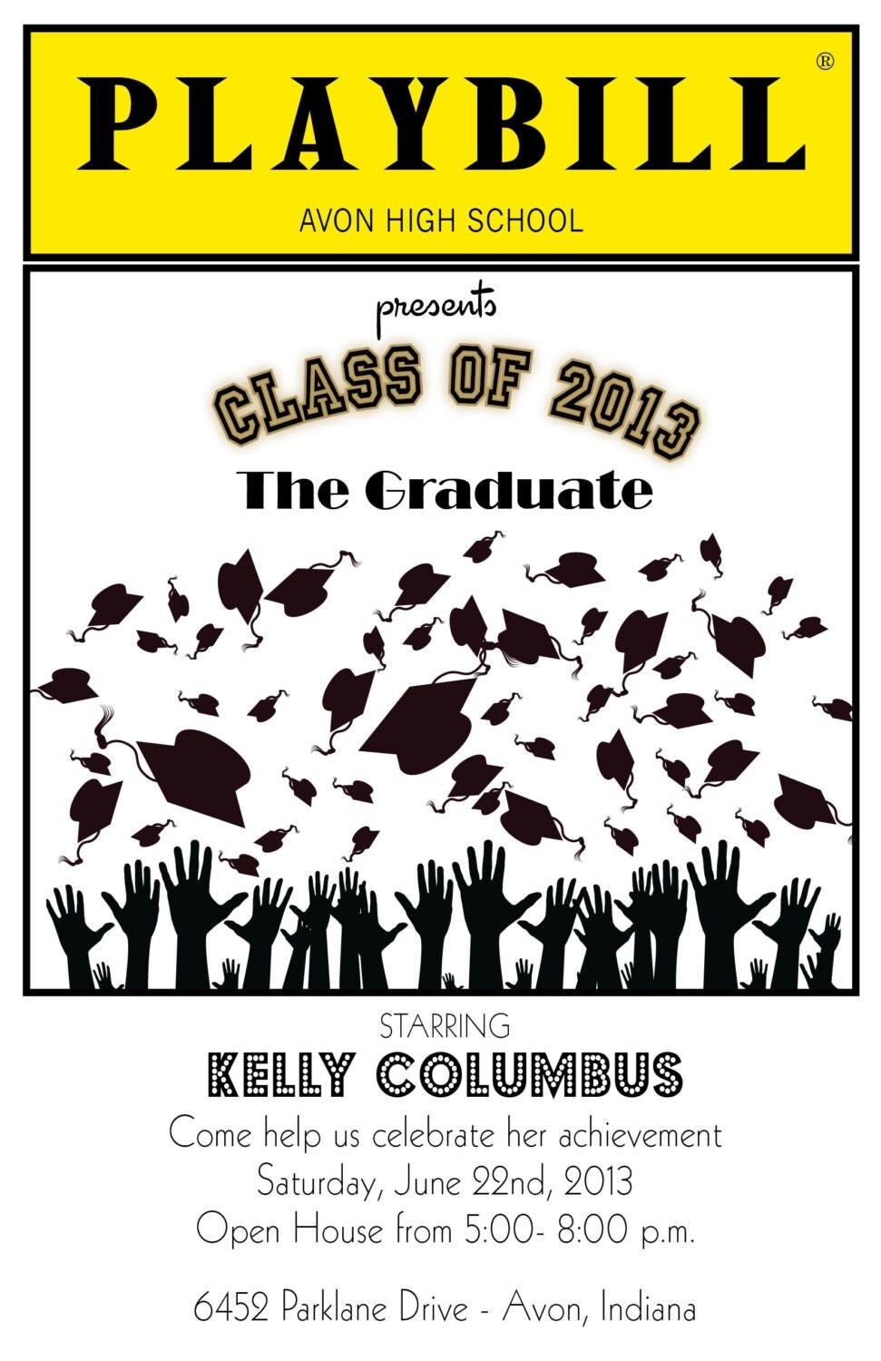 PLAYBILL style graduation invitation theater Broadway NY ...