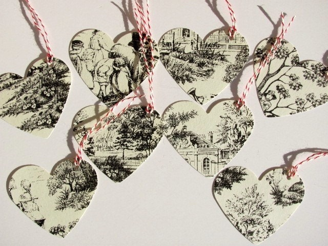 Old Style Heart Tags, Set of 8