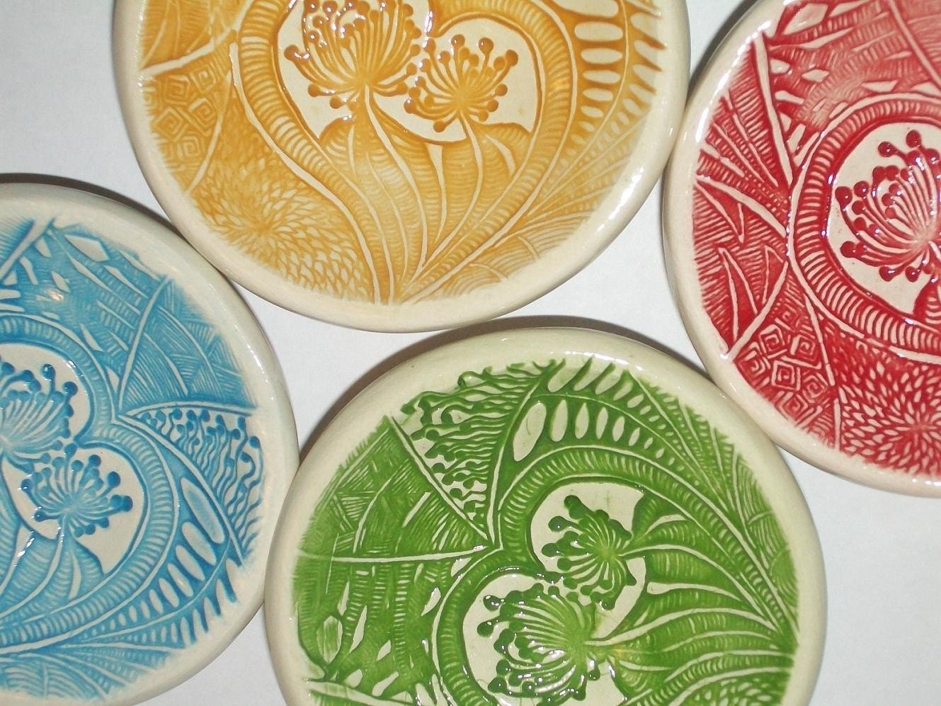 Hand built tiny ceramic bowls set of 4