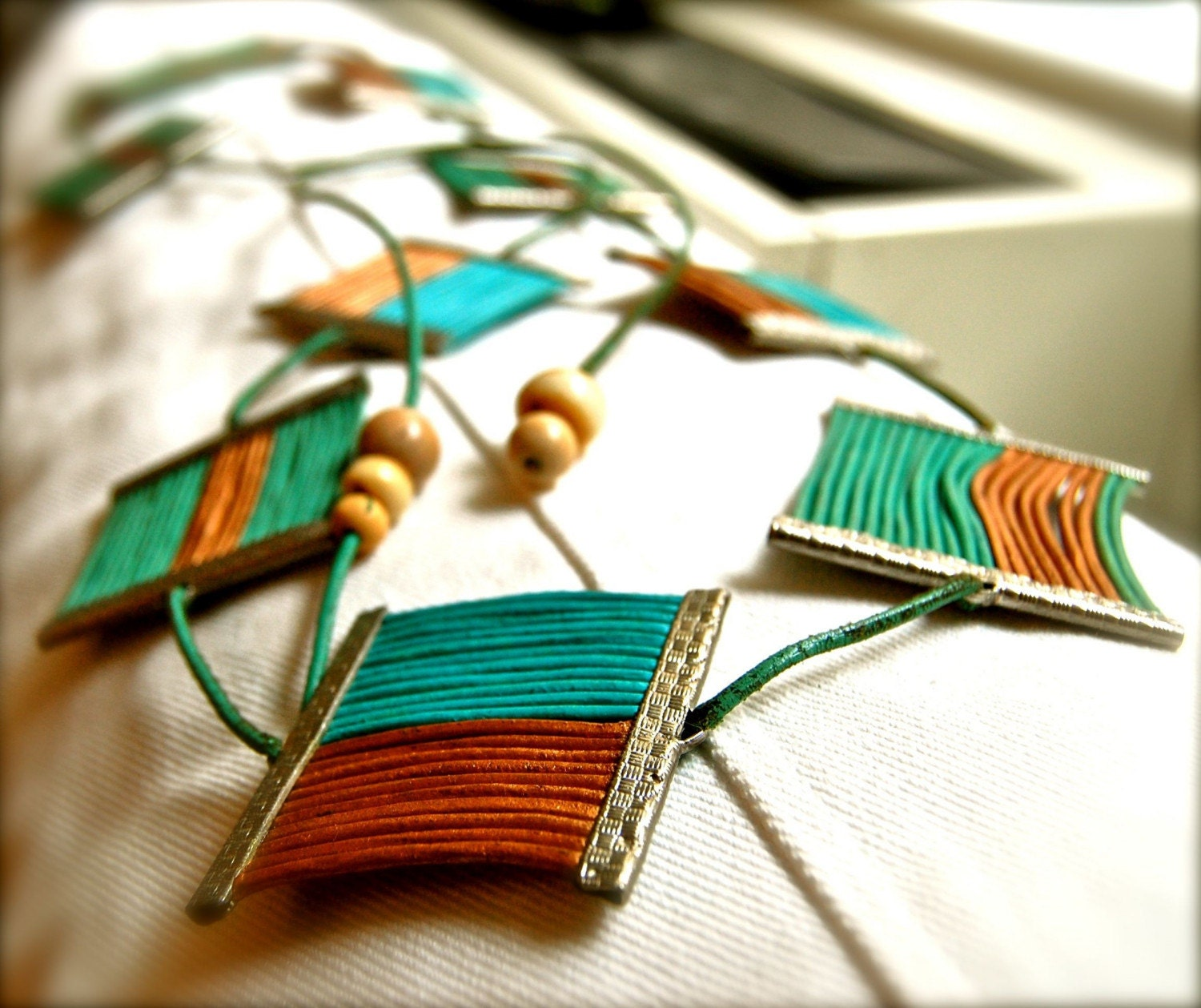 Custom Turquoise and Gold Leather Cord Belt