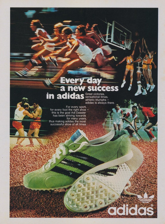 969182d2c2c83 cheap 1972 Adidas Athletic Shoes Ad Sneakers Vintage by AdVintageCom ...