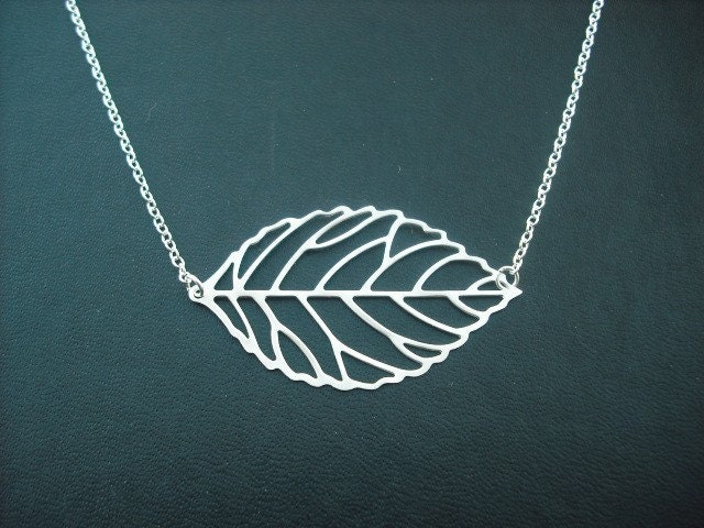matte silver skeleton leaf necklace - white gold plated