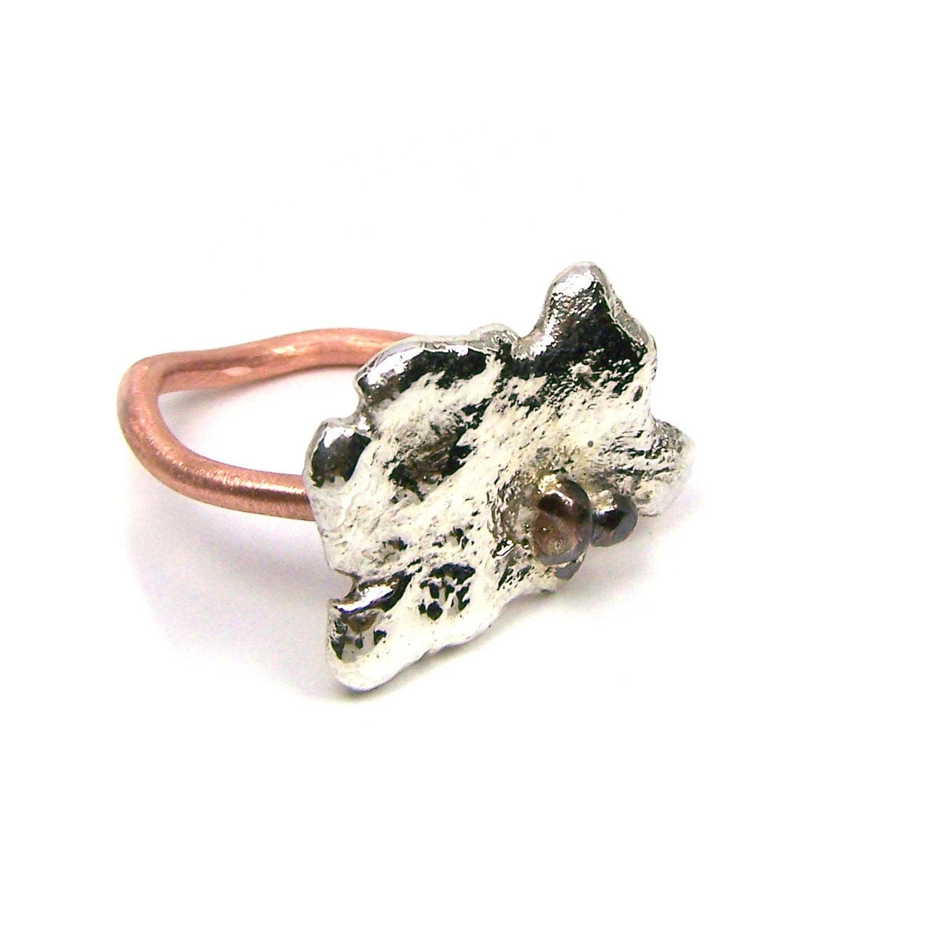 Large Copper Silver Water Puddle Ring - A Pebble in A Puddle