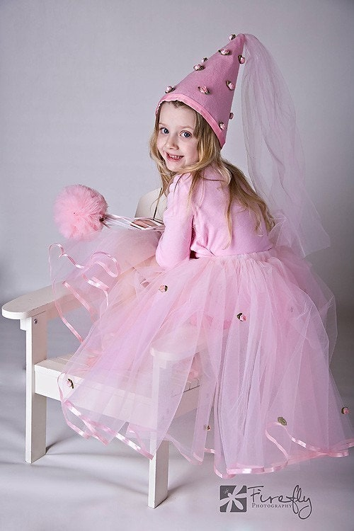 Pink Pretty As A Princess Costume Tutu Set with Hat and Wand - whimsywendy